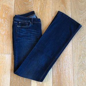 WHBM Boot Leg Dark Rinse MidRise Crystal Jeans